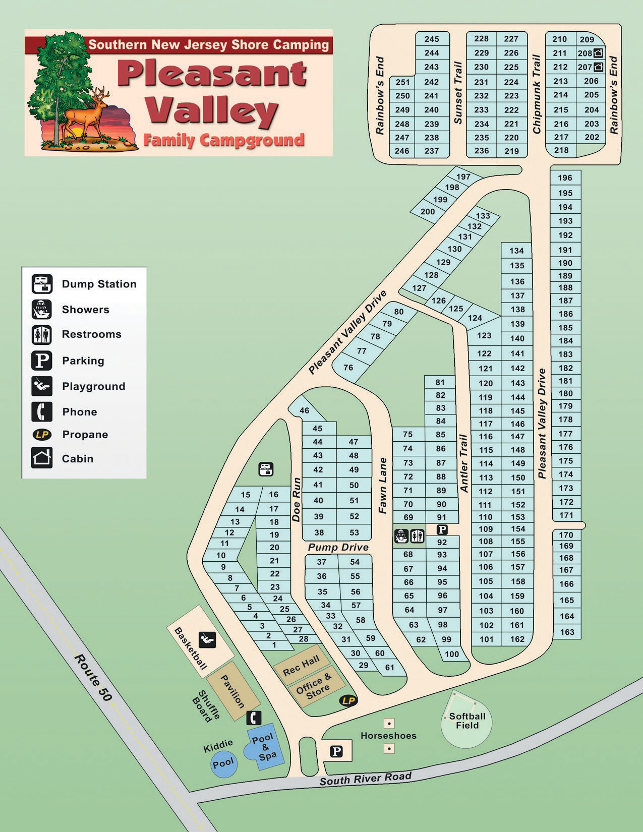 Pleasant Valley Family Campground Site Map